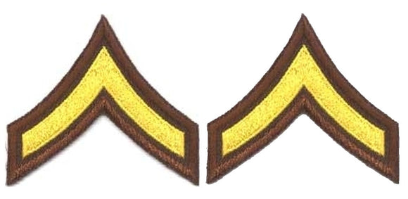 PFC Chevrons - Medium Gold on Brown