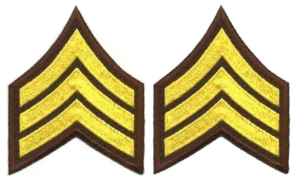 Sergeant Chevrons - Medium Gold on Brown
