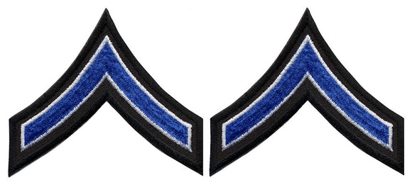 PFC Chevrons - Royal with White Edge on Black