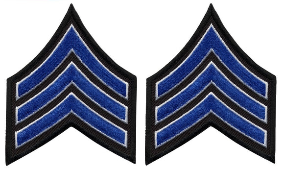 Sergeant Chevrons - Royal with White Edge on Black
