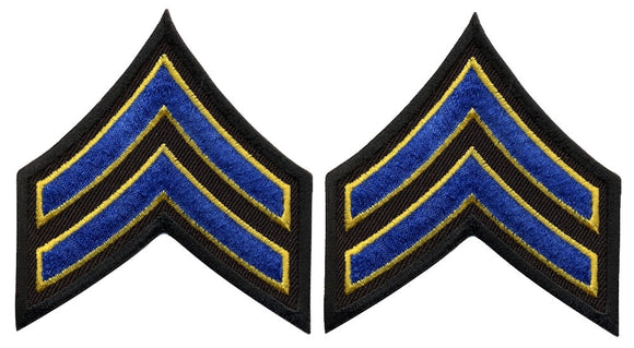 Corporal Chevrons - Royal with Medium Gold on Black
