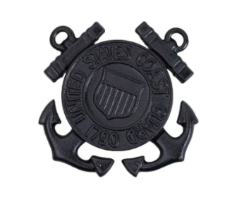 Enlisted U.S. Coast Guard Cap Device - Black Metal Insignia