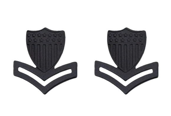 E-5 Petty Officer 2 - U.S. Coast Guard Black Metal Pin-On Rank