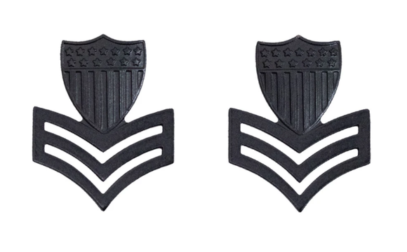 E-6 Petty Officer 1 - U.S. Coast Guard Black Metal Pin-On Rank