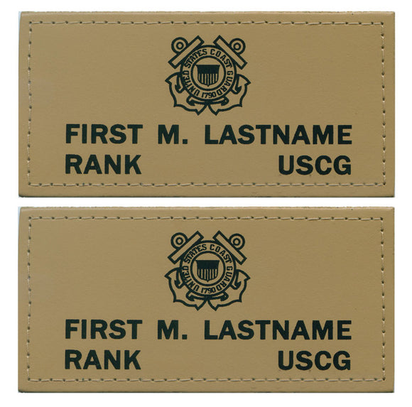U.S. Coast Guard Leather Flight Badge - TAN - 1 Pair