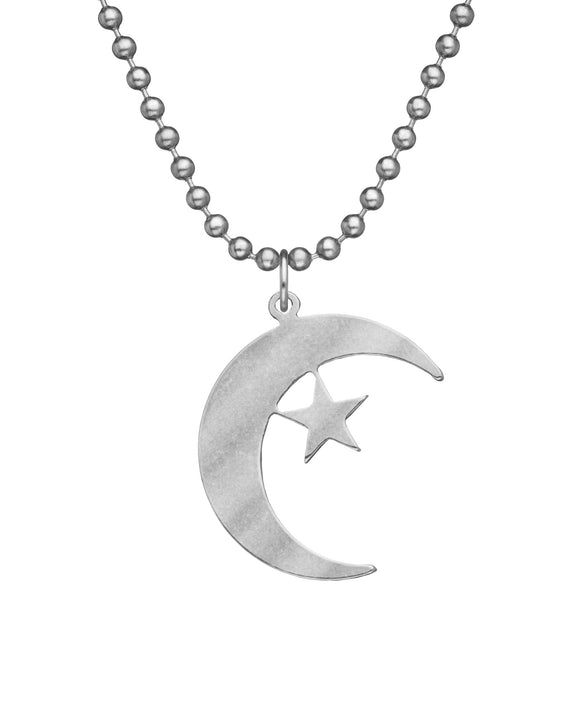 Genuine U.S. Military Issue Crescent & Star Necklace with Dog Tag Chain