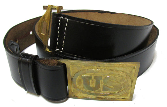 Civil War Waist Belt with Rectangle U.S. Buckle