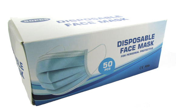 3 Ply Disposable Face Masks - Box of 50