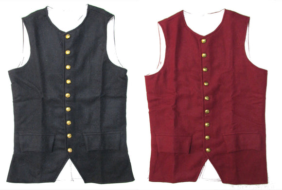 Revolutionary War Era Vest - Wool with Brass Buttons