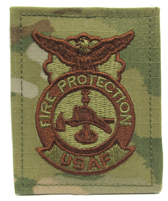 U.S. Air Force Fire Protection OCP Badge Patch - Spice Brown