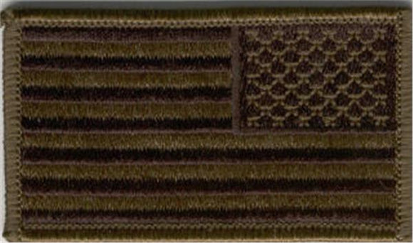 American Flag Subdued Olive Drab Reverse Patch   2 x 3.25 inch - Choose style -  SEW On or HOOK