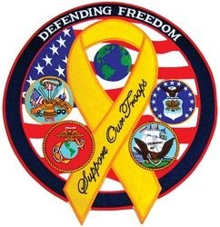 Defending Freedom Back Patch - Support Our Troops - 12 Inch