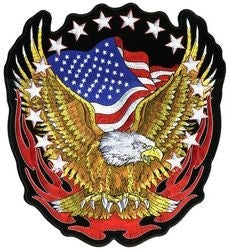 Flying Eagle with Flag and Stars 12 Inch Back Patch