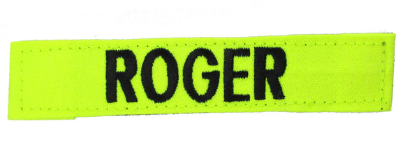 Fluorescent Yellow Name Tape with Hook Fastener - Fabric Material