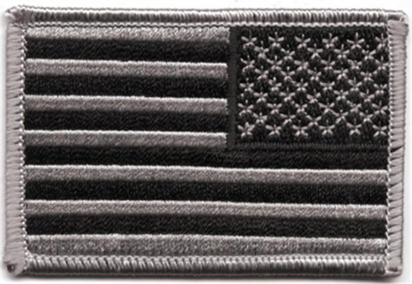 American Flag Black Gray  REVERSE Patch  - Choose style -  SEW On or HOOK
