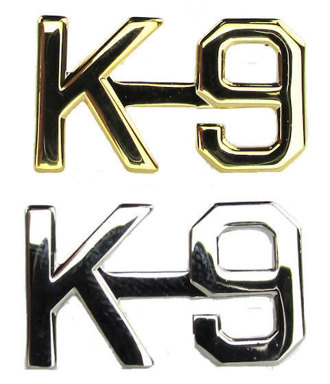 K-9 Collar Letter Insignia - No Shine Metal Pin-On - PAIR