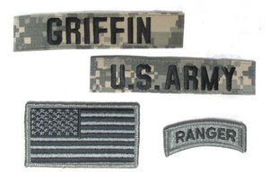 4 Inch Kids ACU Name Tape and Patch Package with HOOK Fastener