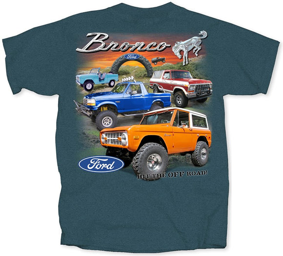 Ford 4 Broncos Hit The Off Road Adult Short Sleeve T-Shirt