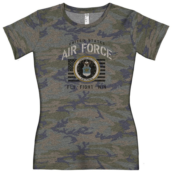 Joe Blow Air Force Ladies Vintage Camo Stencil T-Shirt