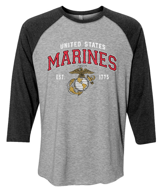 Joe Blow Marines Baseball Tee - Heather Gray and Smoke Gray