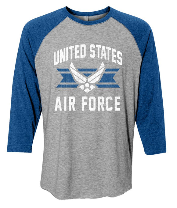 Joe Blow Air Force Baseball Tee - Heather Gray and Royal Blue