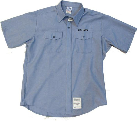 Men's U.S. Navy Utility Work Shirt CHAMBRAY - Short Sleeve