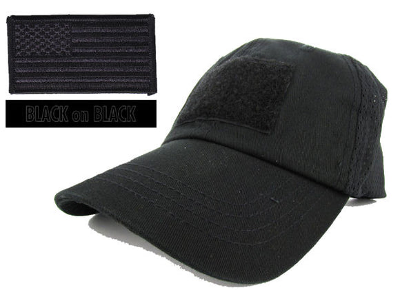 MESH Tactical Cap Package with U.S. Flag Patch and Personalized Name Tape - Various Colors
