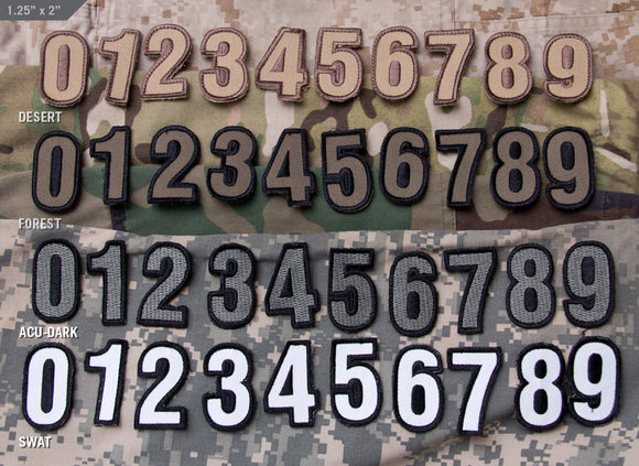 Tactical Numbers Patches with Hook Fastener