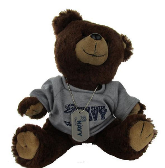 NAVY PT Uniform Military Teddy Bear with Dog Tag