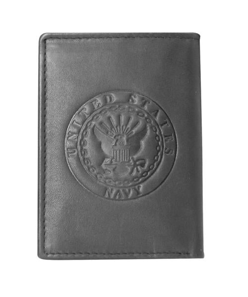 U.S. Navy Crest Tri-Fold Leather Wallet