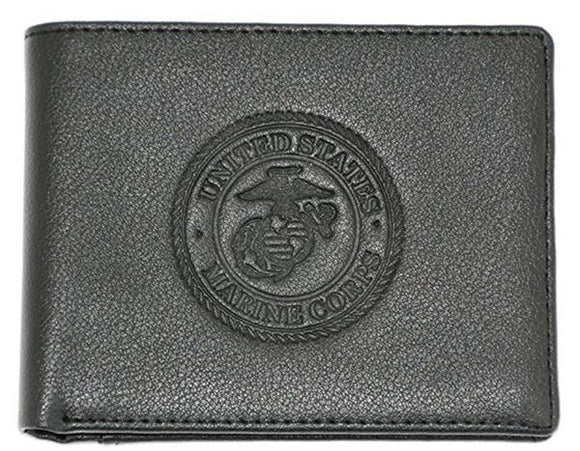 U.S.M.C. Marine Corps Bi-Fold Leather Wallet - BLACK