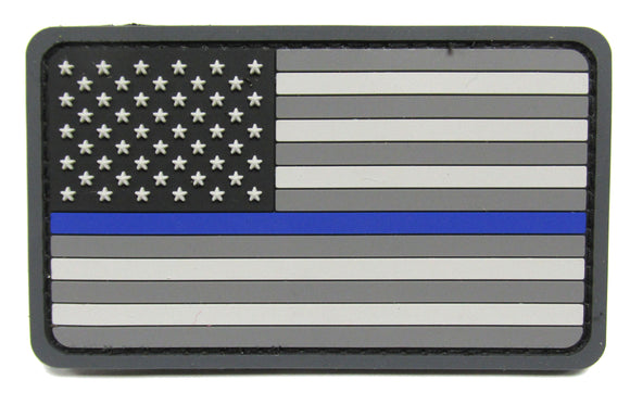 Thin Blue Line U.S. Flag Patch PVC - Hook Fastener