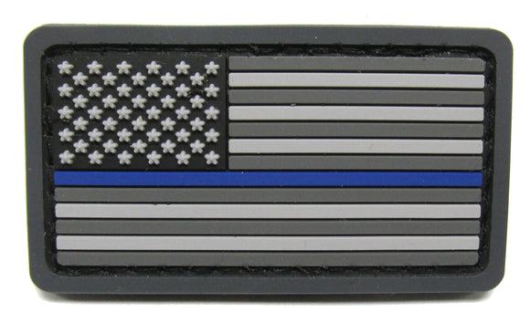 MINI Thin Blue Line U.S. Flag Patch PVC - Hook Fastener