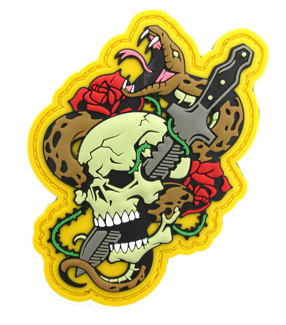 Skull, Knife and Snake Morale Patch - PVC with Hook Fastener
