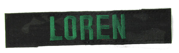 Multicam Black Name Tape with Hook Fastener - Fabric Material