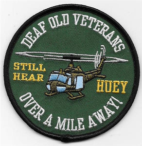 Deaf Old Veterans Huey USMC Patch - Over a Mile Away