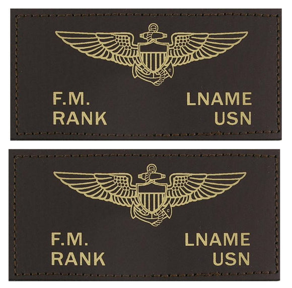 U.S. Navy Leather Flight Badge - BROWN - 1 Pair