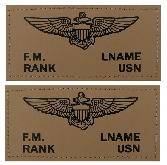 U.S. Navy Leather Flight Badge - TAN - 1 Pair