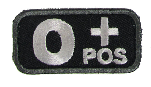 Blood Type Patches - Mil-Spec Monkey BLACK (O+ POSITIVE)