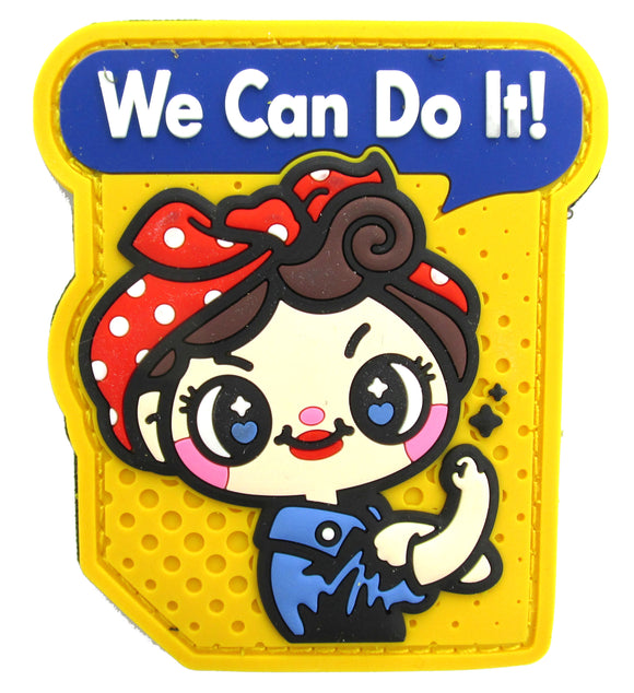 We Can Do It! Cute Rosie the Riveter Patch - PVC with Hook Fastener