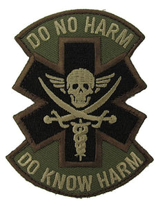 Do No Harm Morale Patch with Pirate Skull - Hook Fastener