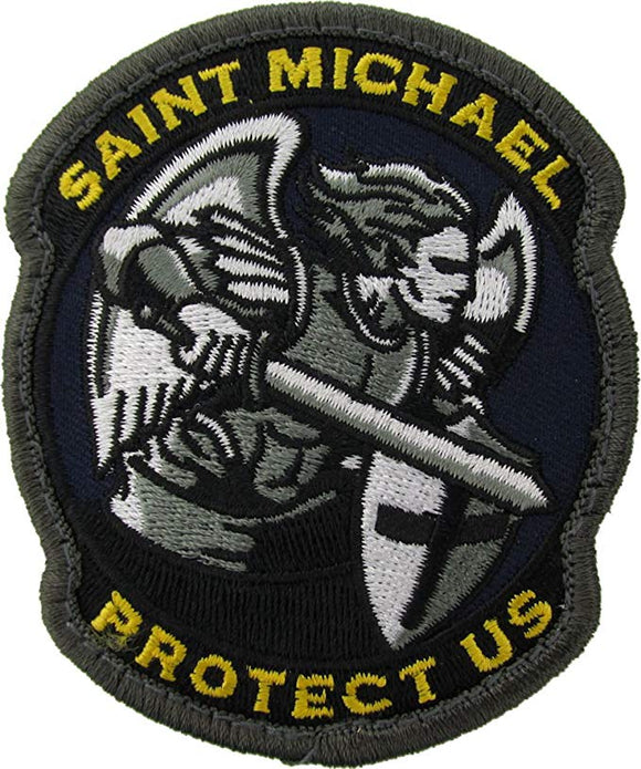 St. Michael Protect Us Patch - Modern Design with Hook Fastener