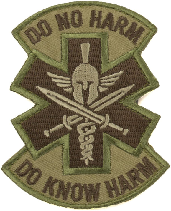 Do No Harm Morale Patch with Spartan Helmet- Hook Fastener