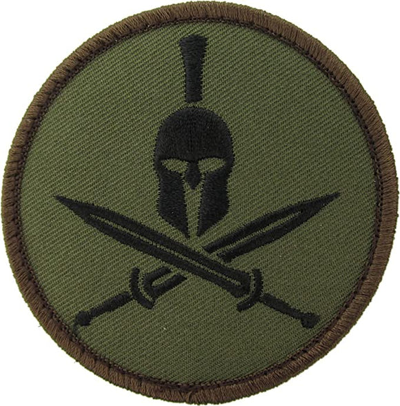 Crossed Swords Spartan Helmet Morale Patch - Hook Fastener
