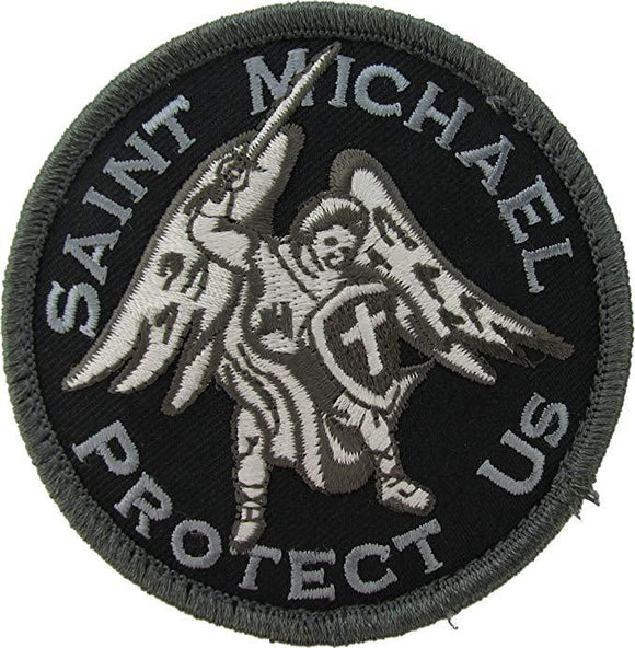 Saint Michael Protect Us Patch - Circle Emblem with Hook Fastener