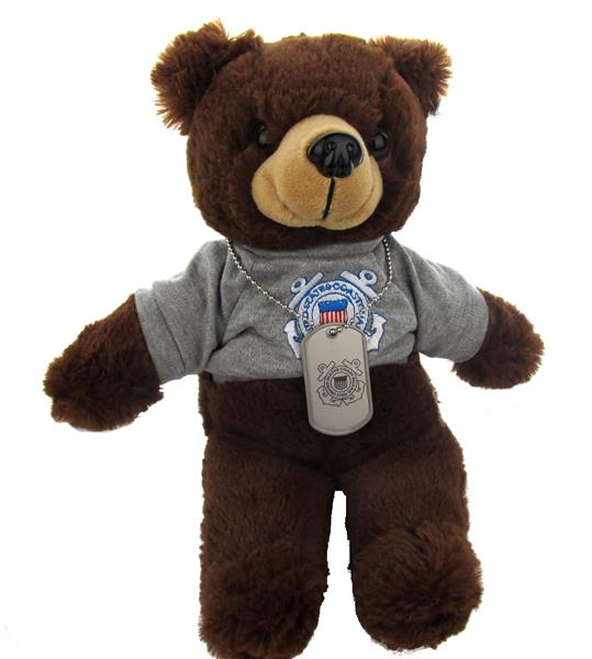USCG PT Uniform Military Teddy Bear with Dog Tag