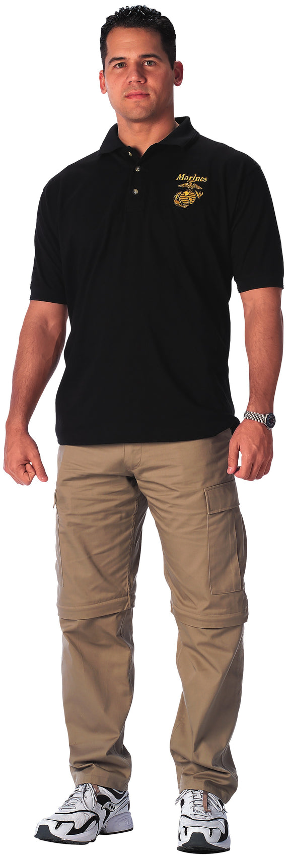 Rothco USMC Moisture Wicking Embroidered Black Polo
