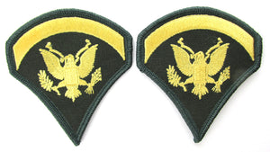 U.S. Army Specialist E5 Chevrons - Gold on Green