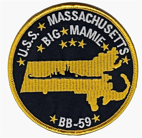 USS Massachusetts BB-59 USMC Patch - BIB MAMIE