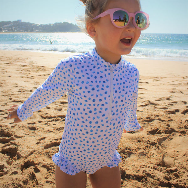 Blue Polka | Long Sleeved One Piece Swimwear